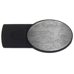 Embossed Rose Pattern Usb Flash Drive Oval (4 Gb) by BangZart