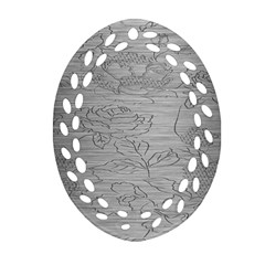 Embossed Rose Pattern Oval Filigree Ornament (two Sides)