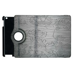 Embossed Rose Pattern Apple Ipad 3/4 Flip 360 Case