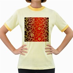 Golden Swirls Floral Pattern Women s Fitted Ringer T Shirts by BangZart