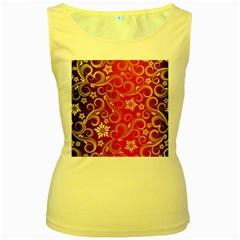 Golden Swirls Floral Pattern Women s Yellow Tank Top