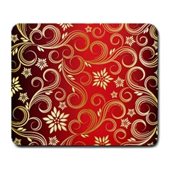 Golden Swirls Floral Pattern Large Mousepads