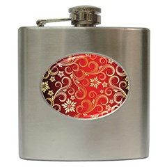 Golden Swirls Floral Pattern Hip Flask (6 Oz)