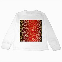 Golden Swirls Floral Pattern Kids Long Sleeve T Shirts