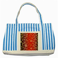 Golden Swirls Floral Pattern Striped Blue Tote Bag