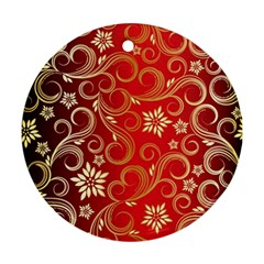 Golden Swirls Floral Pattern Round Ornament (two Sides)