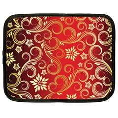 Golden Swirls Floral Pattern Netbook Case (xxl)