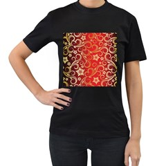 Golden Swirls Floral Pattern Women s T Shirt (black)