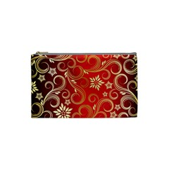 Golden Swirls Floral Pattern Cosmetic Bag (small)  by BangZart
