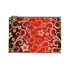 Golden Swirls Floral Pattern Cosmetic Bag (large)