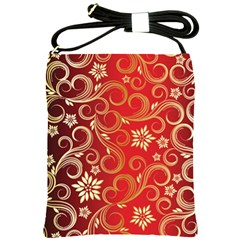 Golden Swirls Floral Pattern Shoulder Sling Bags by BangZart
