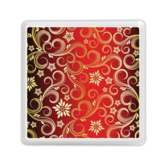 Golden Swirls Floral Pattern Memory Card Reader (square)