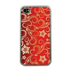 Golden Swirls Floral Pattern Apple Iphone 4 Case (clear)