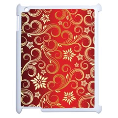 Golden Swirls Floral Pattern Apple Ipad 2 Case (white)