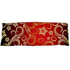 Golden Swirls Floral Pattern Body Pillow Case Dakimakura (two Sides)