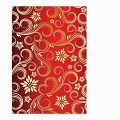Golden Swirls Floral Pattern Small Garden Flag (two Sides) by BangZart