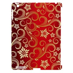 Golden Swirls Floral Pattern Apple Ipad 3/4 Hardshell Case (compatible With Smart Cover)