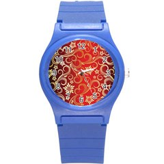 Golden Swirls Floral Pattern Round Plastic Sport Watch (s)
