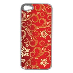 Golden Swirls Floral Pattern Apple Iphone 5 Case (silver)
