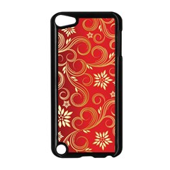 Golden Swirls Floral Pattern Apple Ipod Touch 5 Case (black)