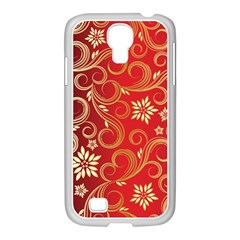 Golden Swirls Floral Pattern Samsung Galaxy S4 I9500/ I9505 Case (white) by BangZart