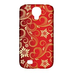 Golden Swirls Floral Pattern Samsung Galaxy S4 Classic Hardshell Case (pc+silicone)