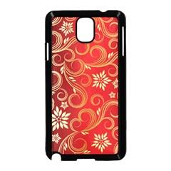 Golden Swirls Floral Pattern Samsung Galaxy Note 3 Neo Hardshell Case (black)