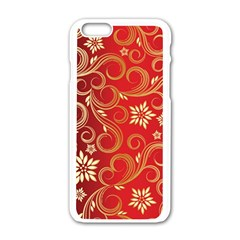 Golden Swirls Floral Pattern Apple Iphone 6/6s White Enamel Case