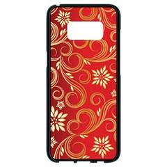 Golden Swirls Floral Pattern Samsung Galaxy S8 Black Seamless Case