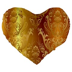 Golden Pattern Vintage Gradient Vector Large 19  Premium Flano Heart Shape Cushions