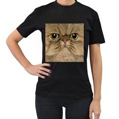 Cute Persian Catface In Closeup Women s T Shirt (black) by BangZart