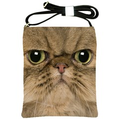 Cute Persian Catface In Closeup Shoulder Sling Bags