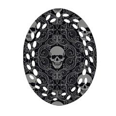Dark Horror Skulls Pattern Oval Filigree Ornament (two Sides)