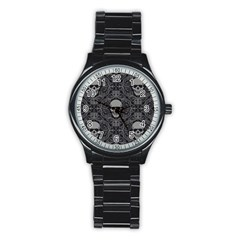 Dark Horror Skulls Pattern Stainless Steel Round Watch