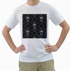 Dark Horror Skulls Pattern Men s T Shirt (white)
