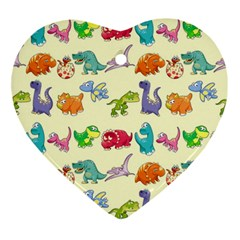 Group Of Funny Dinosaurs Graphic Ornament (heart)
