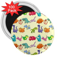 Group Of Funny Dinosaurs Graphic 3  Magnets (100 Pack) by BangZart