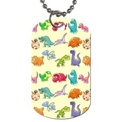 Group Of Funny Dinosaurs Graphic Dog Tag (two Sides)