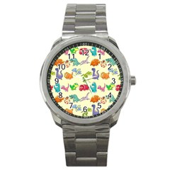 Group Of Funny Dinosaurs Graphic Sport Metal Watch by BangZart