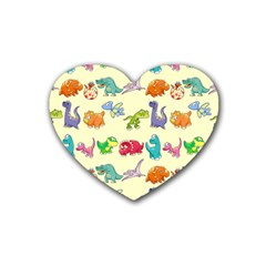 Group Of Funny Dinosaurs Graphic Heart Coaster (4 Pack)
