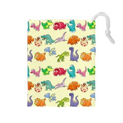 Group Of Funny Dinosaurs Graphic Drawstring Pouches (large)