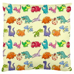 Group Of Funny Dinosaurs Graphic Large Flano Cushion Case (two Sides)