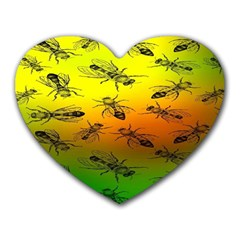 Insect Pattern Heart Mousepads