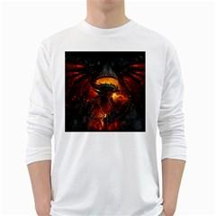 Dragon Legend Art Fire Digital Fantasy White Long Sleeve T Shirts