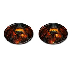 Dragon Legend Art Fire Digital Fantasy Cufflinks (oval) by BangZart