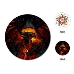 Dragon Legend Art Fire Digital Fantasy Playing Cards (round)  by BangZart