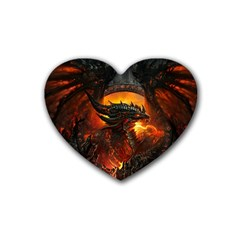 Dragon Legend Art Fire Digital Fantasy Rubber Coaster (heart)