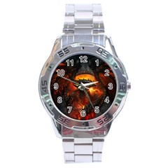 Dragon Legend Art Fire Digital Fantasy Stainless Steel Analogue Watch