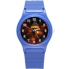 Dragon Legend Art Fire Digital Fantasy Round Plastic Sport Watch (s)