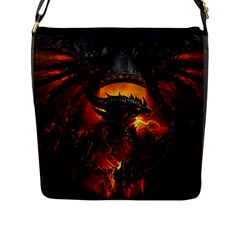 Dragon Legend Art Fire Digital Fantasy Flap Messenger Bag (l)